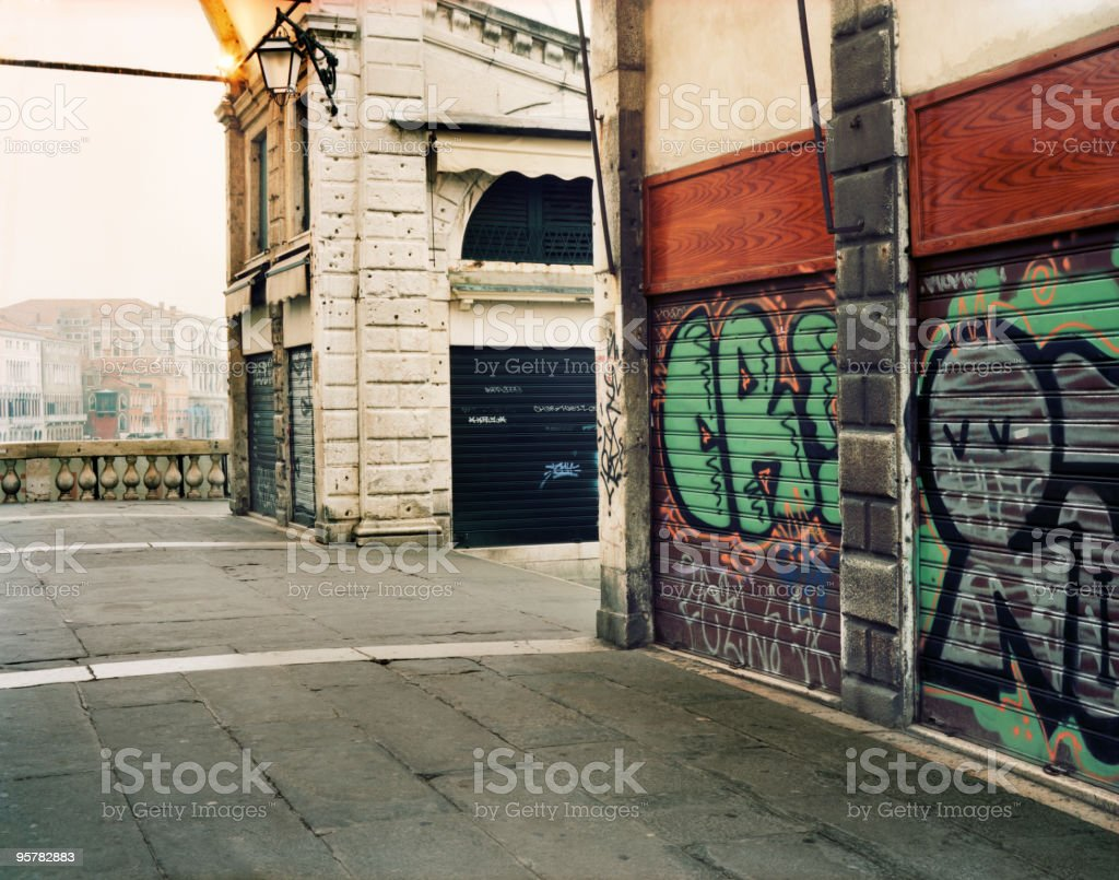 Graffiti on Ponte Rialto in Venice, Italy royalty-free stock photo