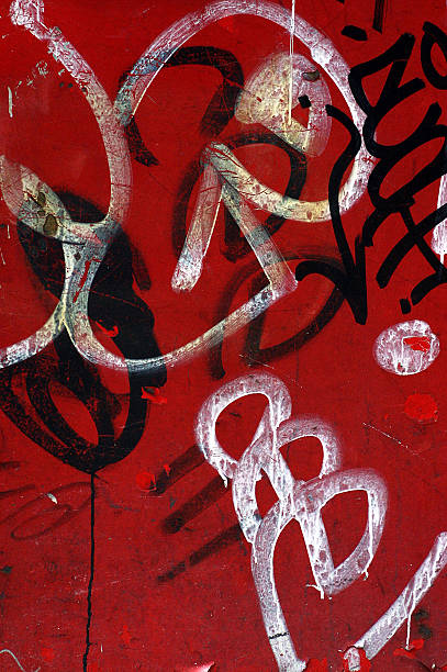 graffiti on red wall stock photo