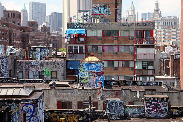 graffiti on rooftops, new york city - lower east side manhattan stock pictures, royalty-free photos & images