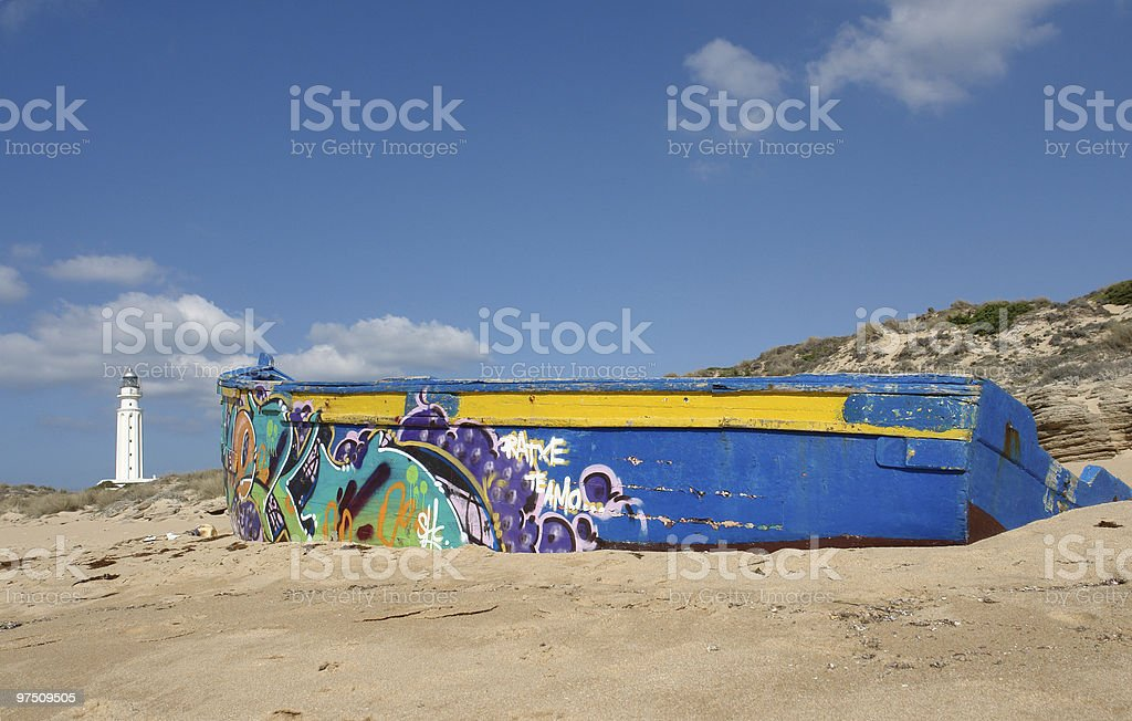 Graffiti on the  boat royalty-free stock photo