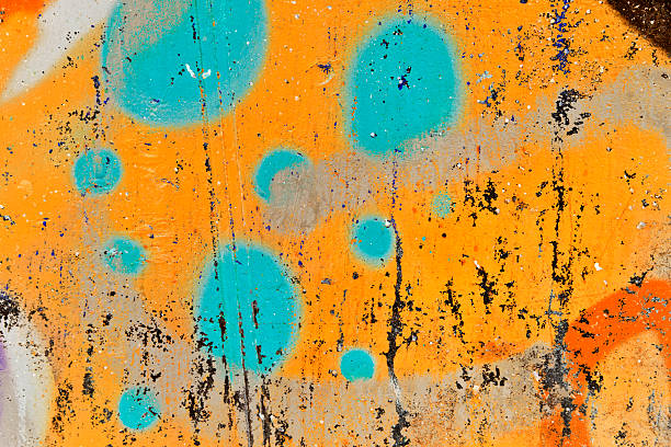 Graffiti orange and green. Graffiti.  Oslo, Norway.Lightbox: saturated color stock pictures, royalty-free photos & images