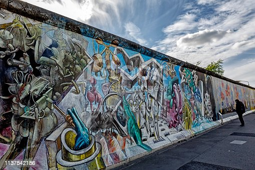 Berlin, Germany - September 28, 2018: People walking on the western side of the East Side Gallery wall of Berlin Germany at day