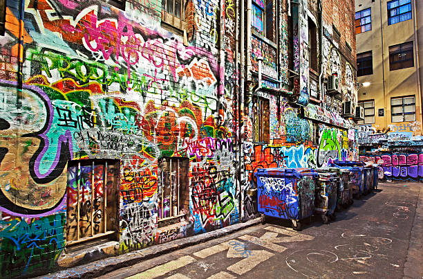 Graffiti Grunge alley covered in graffiti.  Hosier Lane, Melbourne, Australia.  HDR effects. street art stock pictures, royalty-free photos & images