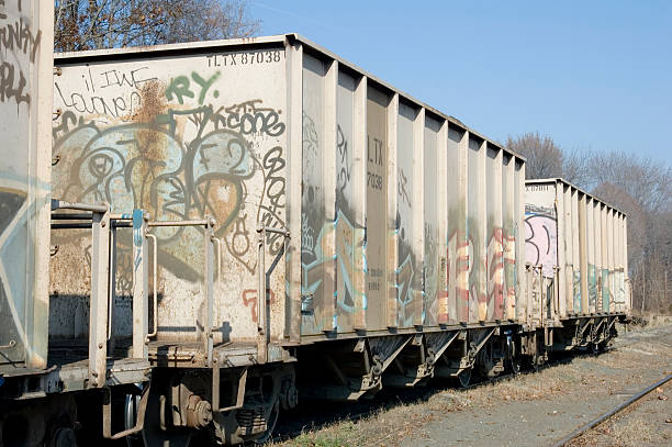 graffiti rail car stock photo