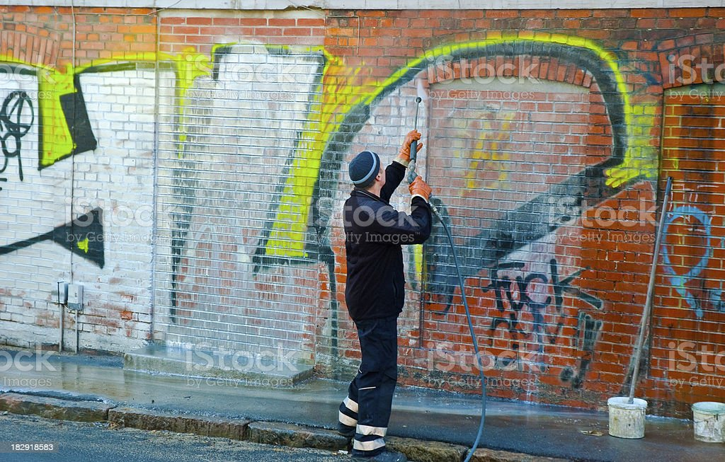 graffiti removal stock photo