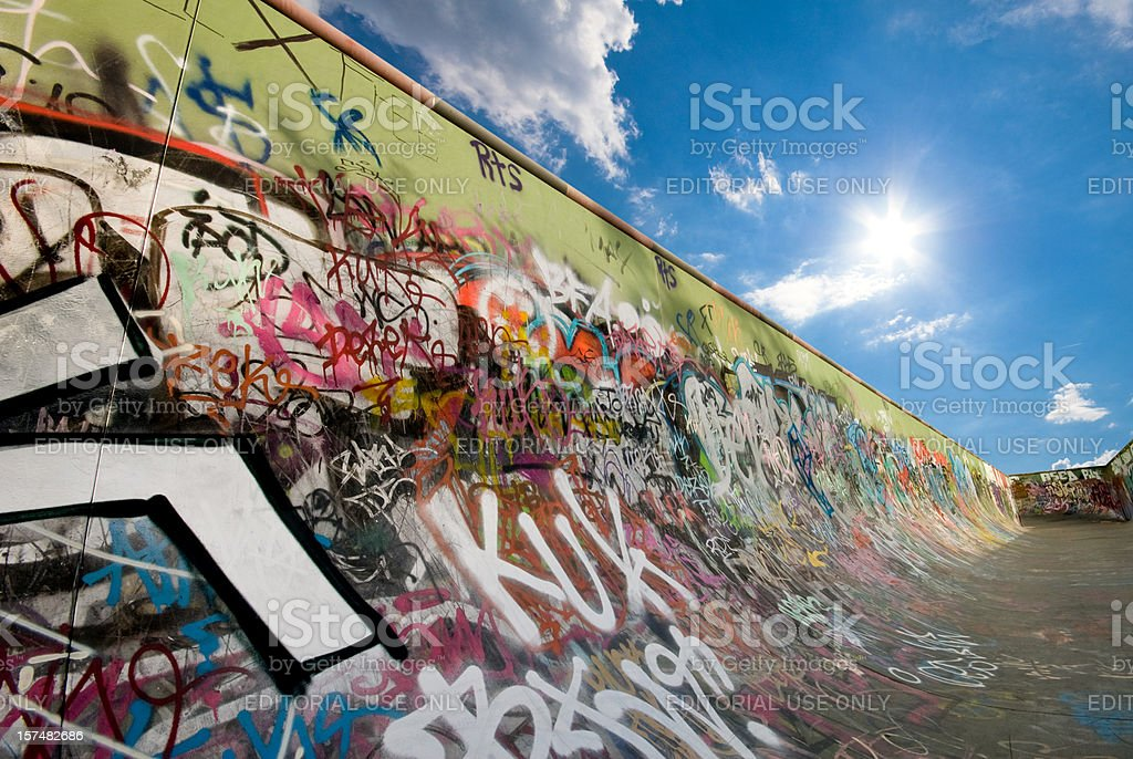 Graffiti Skateboard ramp royalty-free stock photo