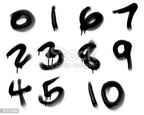 istock Graffiti Spray Painted Numerics 91513380