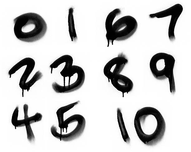 painted numerics graffiti-spray - wirtschaftszahlen stock-fotos und bilder