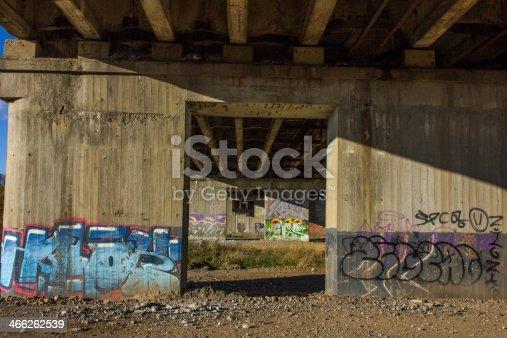 Graffiti under bridge.