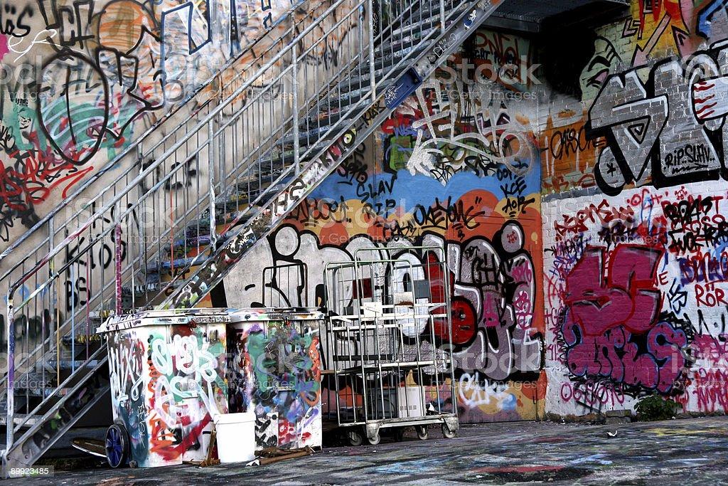 Graffiti Under Stairs - Royalty-free Airbrush Stock Photo