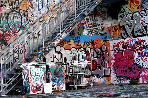Graffiti Under Stairs stock photo