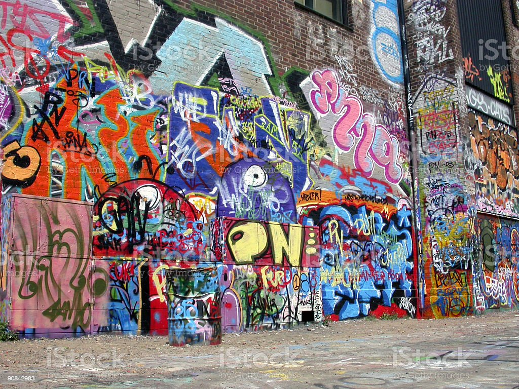 Graffiti wall with many colored murals - Royalty-free Airbrush Stock Photo