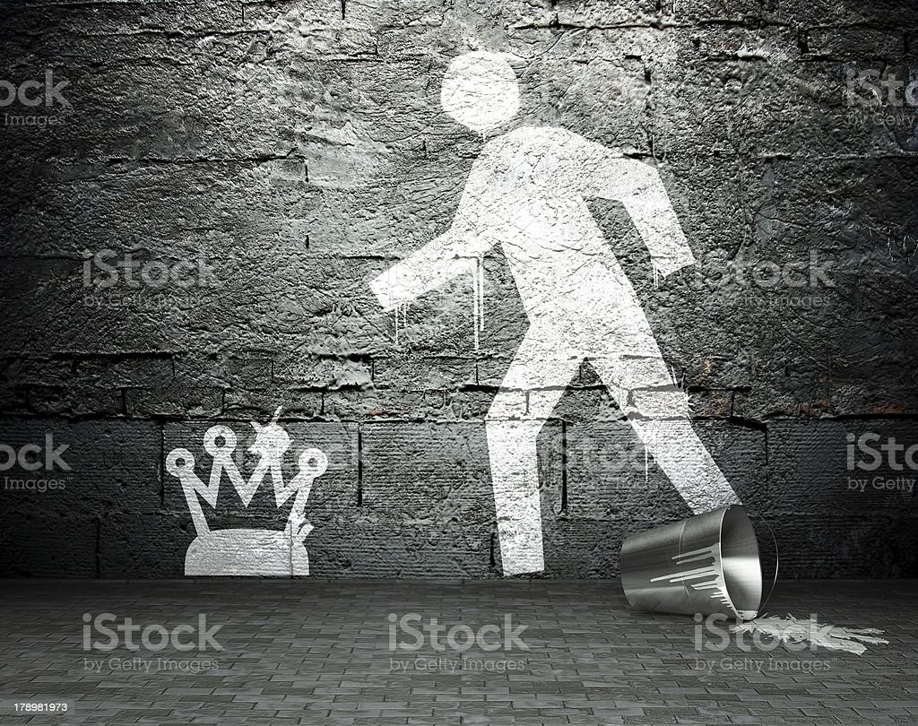 Graffiti wall with symbol of power, street background royalty-free stock photo