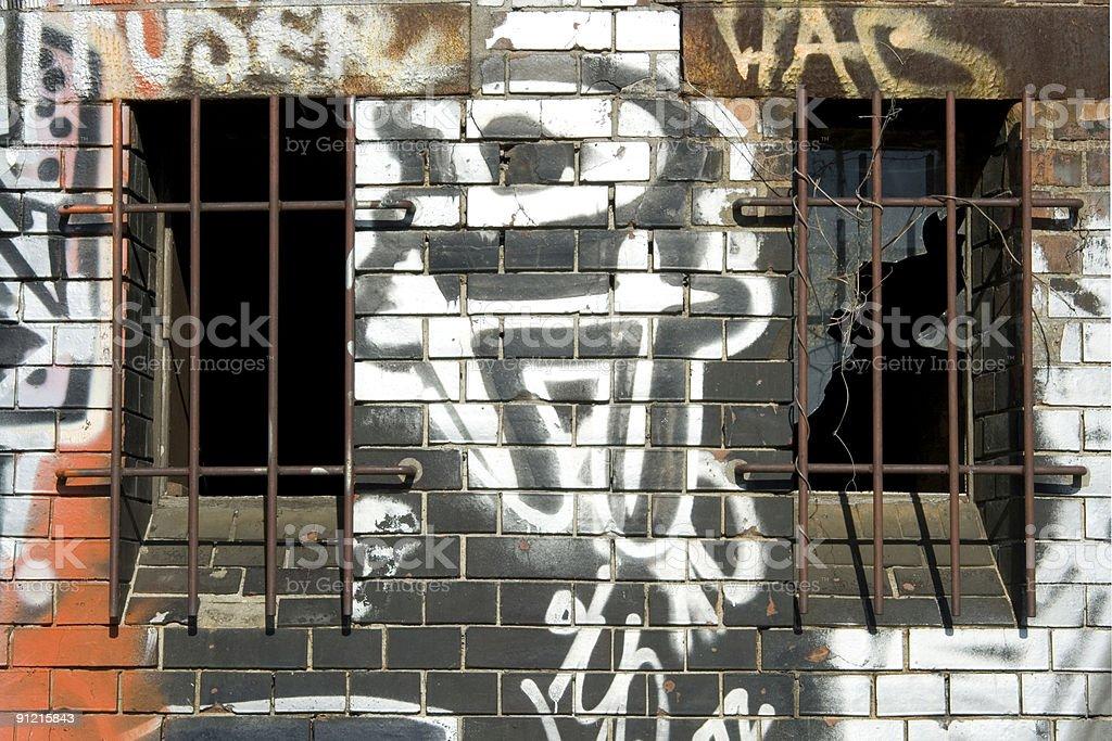 Graffiti window stock photo