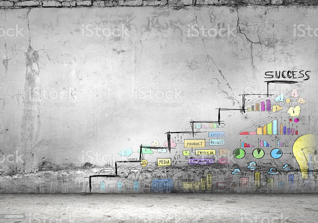 Graffitied stairs that lead to success stock photo