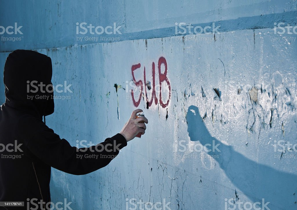 Graffitti artist stock photo