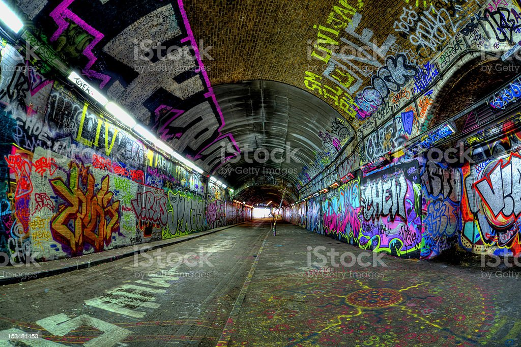 grafitti tunnel stock photo