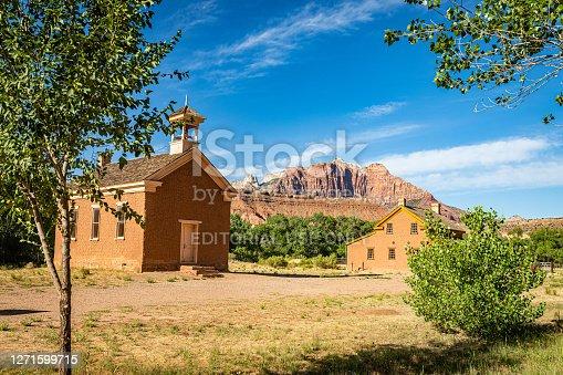 Grafton, Utah, USA - June 13, 2020: Abandoned buildings at the Grafton Ghost Town in Utah.
