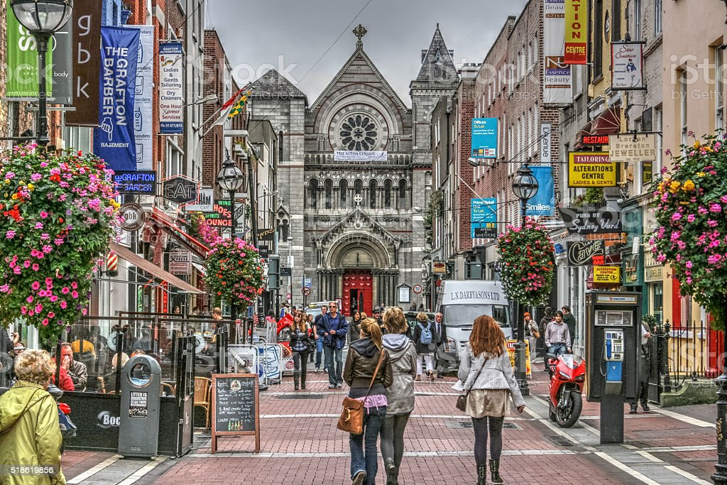 Grafton Street Dublin Ireland Shoppers stock photo