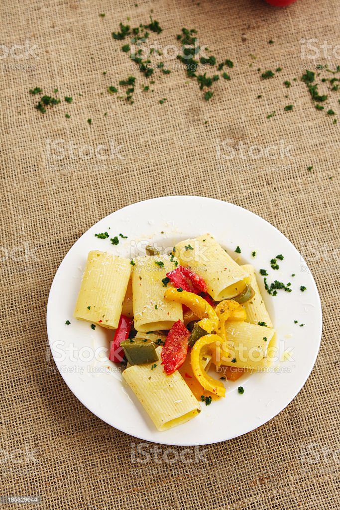 Gragnano's paccheri (pasta) with sweet peppers. stock photo
