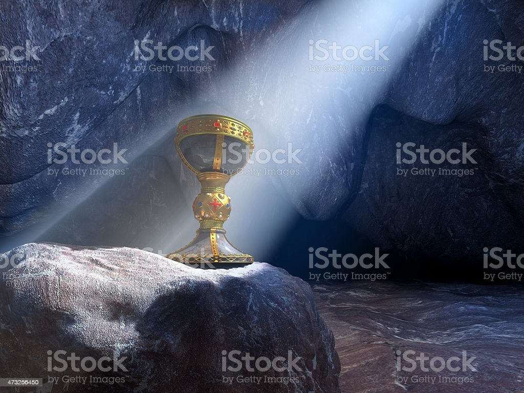 Grail in a cave stock photo