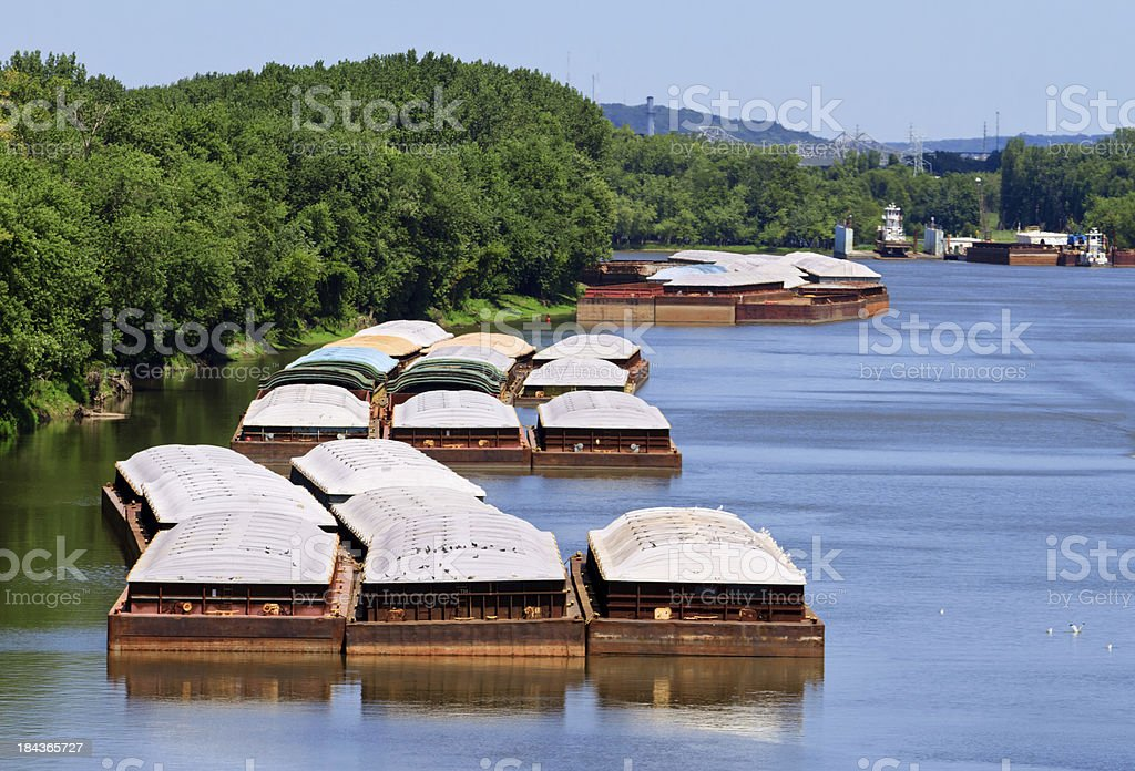 Grain barges on the river stock photo
