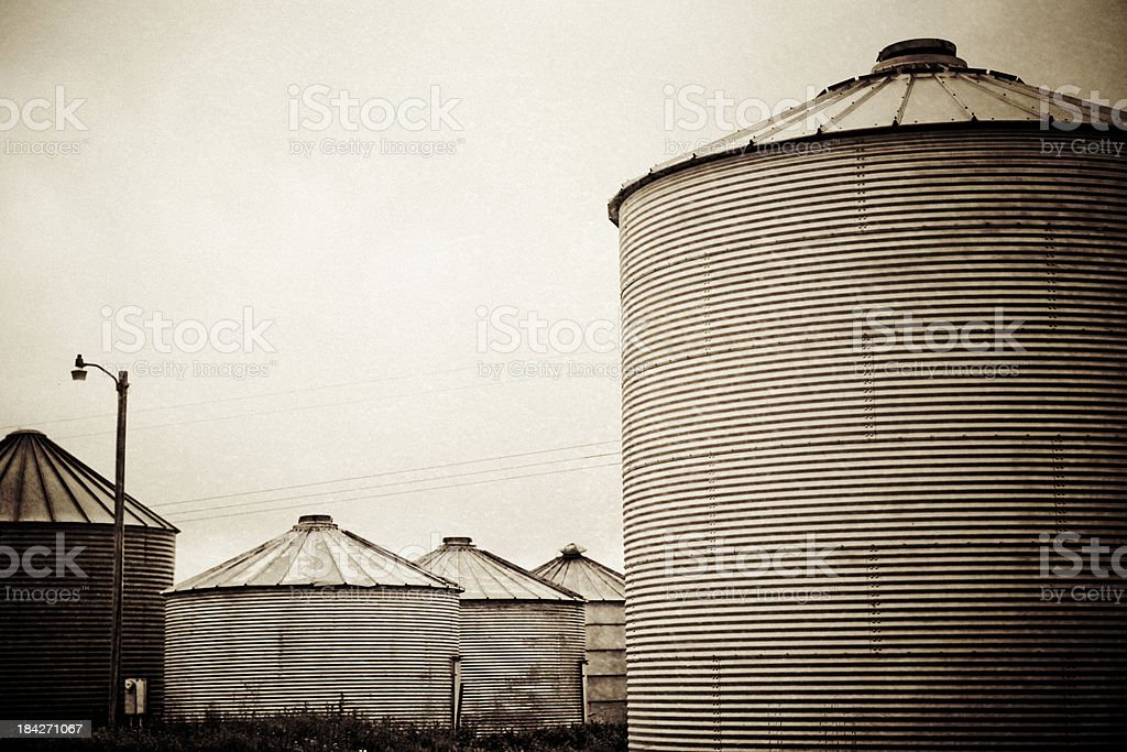 Grain Bins Vintage Style stock photo