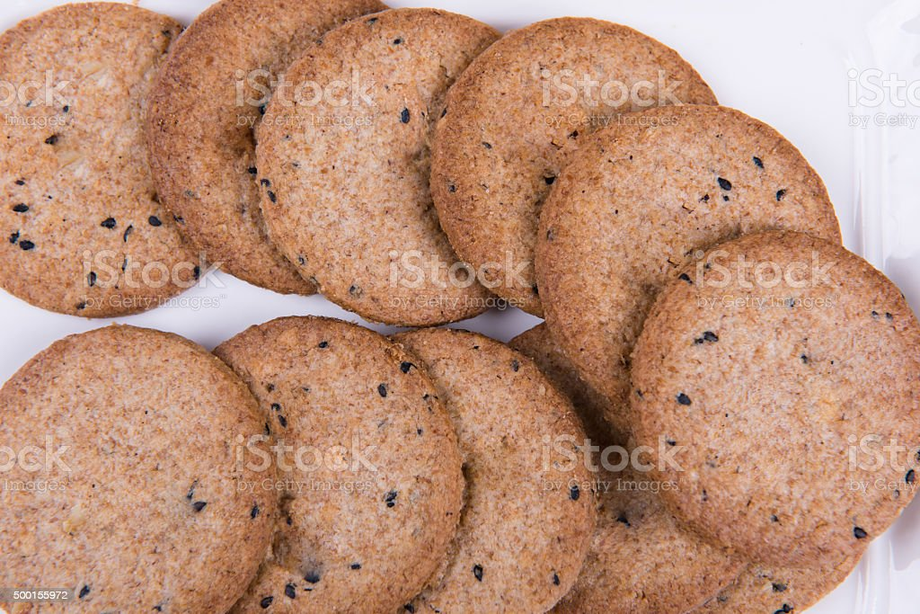 Grain black sesame biscuits stock photo