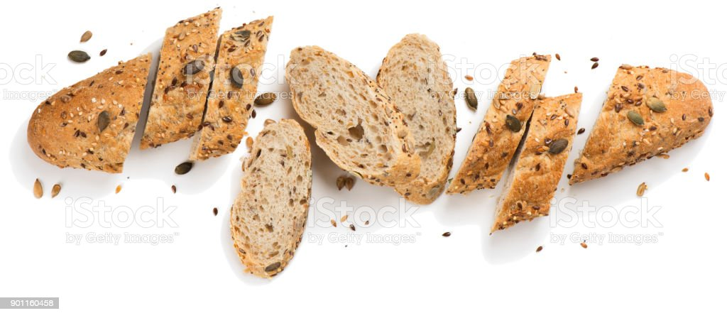 Grain bread with seeds.Above view. stock photo
