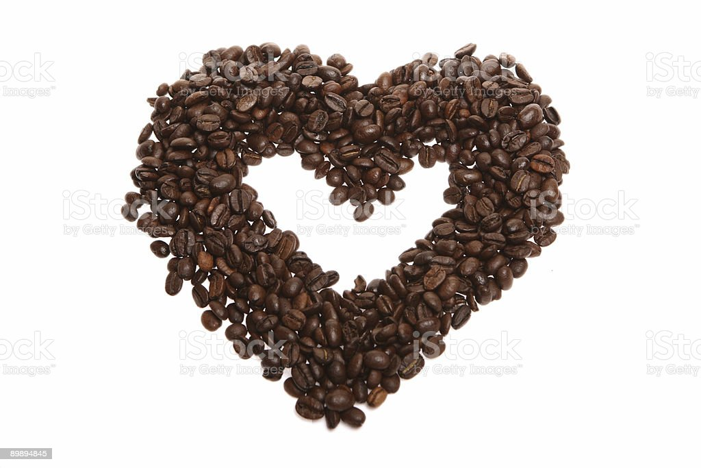 grain coffee in the form of hearts royalty-free stock photo