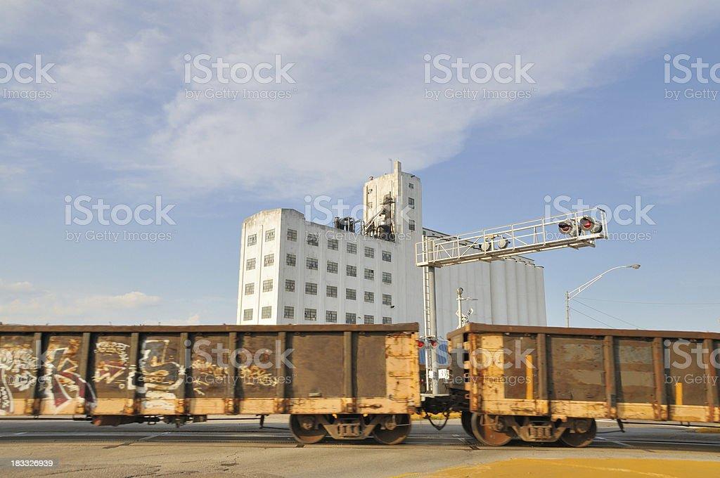 Grain Elevator and Train stock photo