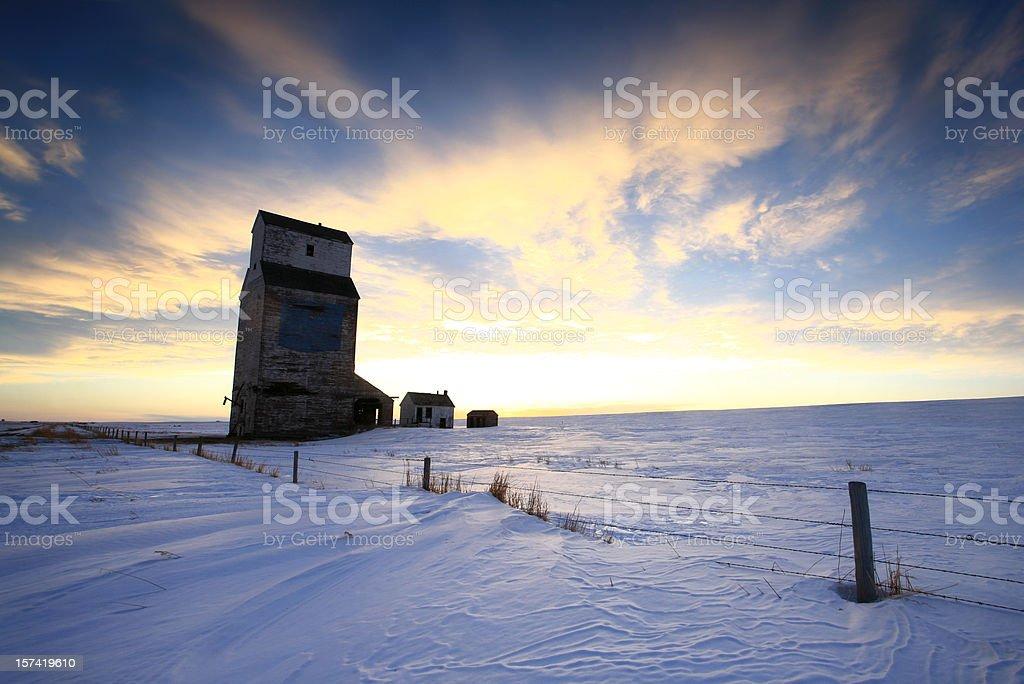 Grain Elevator in Winter royalty-free stock photo