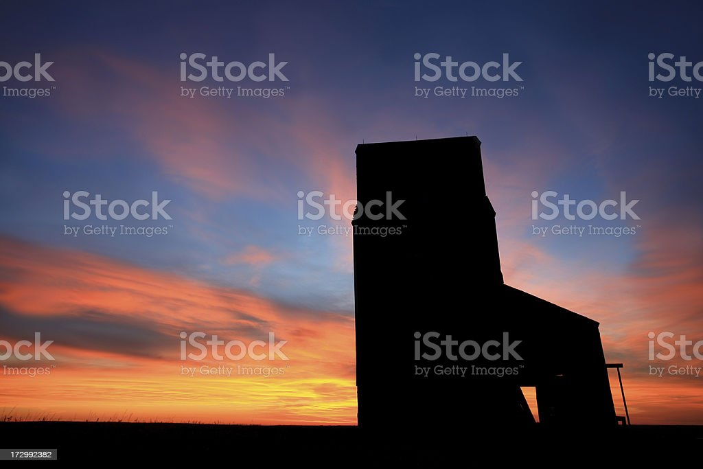 Grain Elevator Silhouette royalty-free stock photo