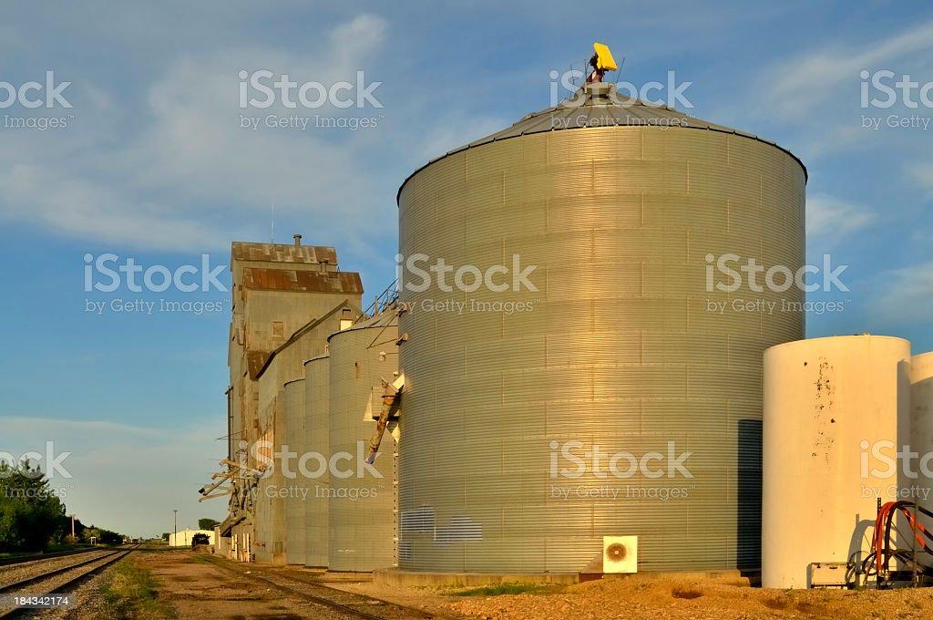 Grain Elevators Railroad Siding royalty-free stock photo