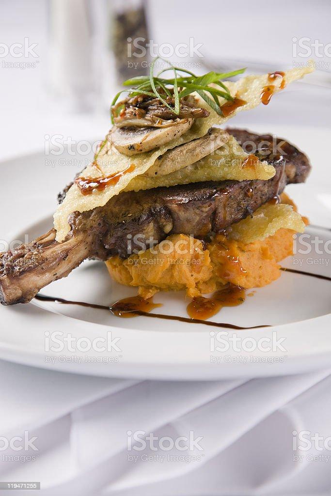 grain fed rib-eye steak on the bone royalty-free stock photo