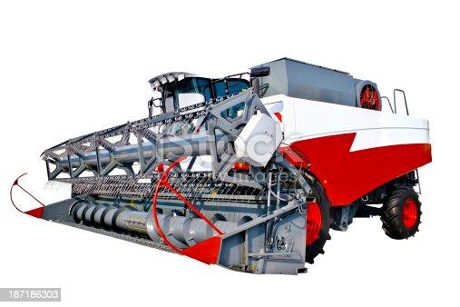 istock Grain harvester combine 187186303