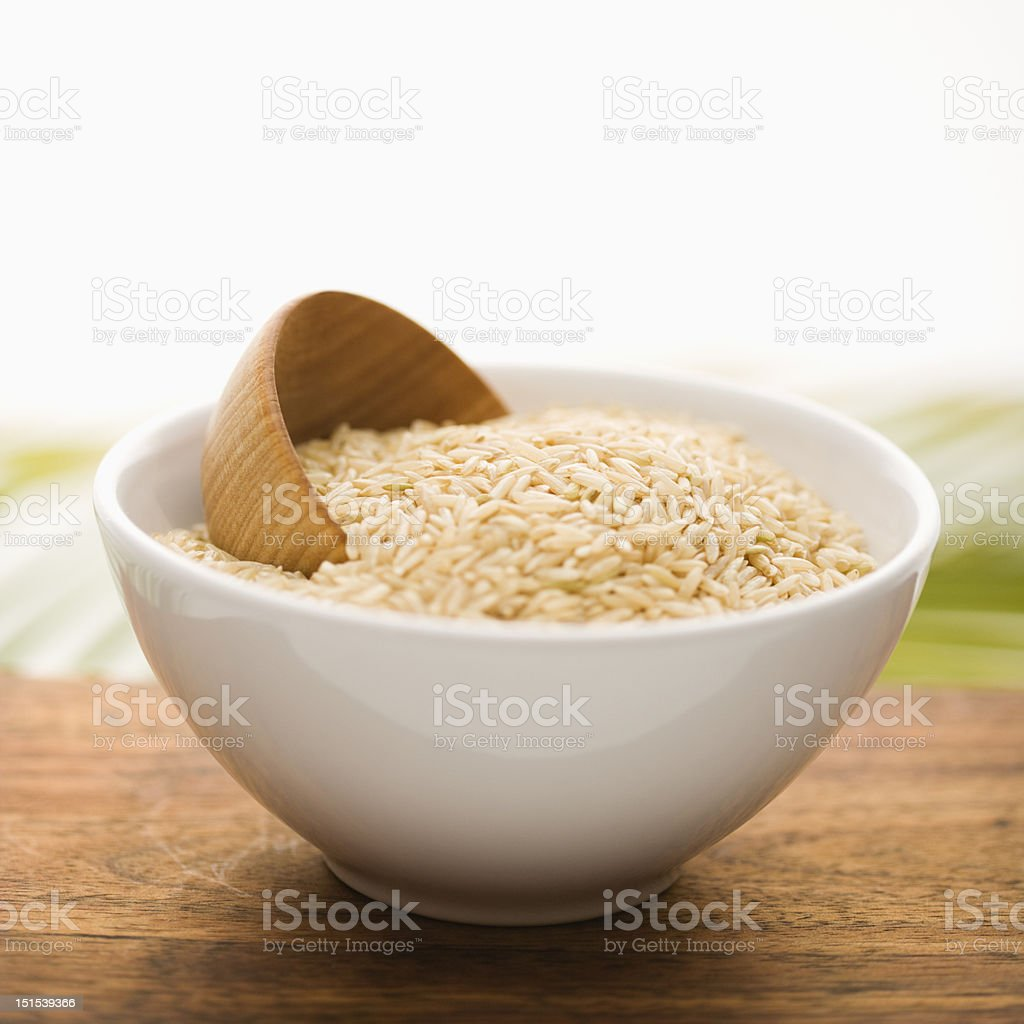 Grain in a White Ceramic Bowl. Isolated royalty-free stock photo