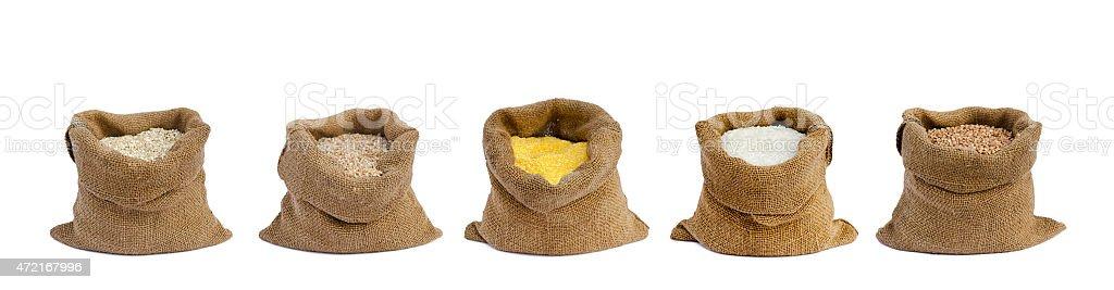 grain in sacks the isolated stock photo