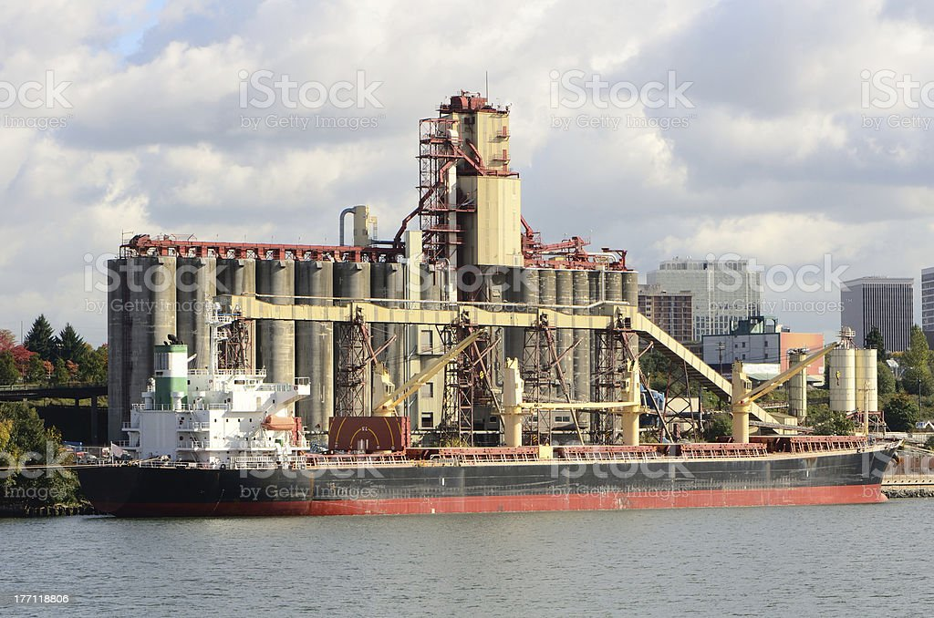 Grain Ship at Dock stock photo