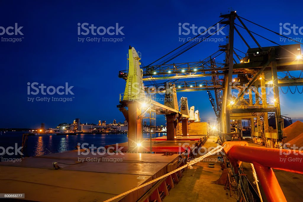 Grain shipment and city life in Quebec stock photo