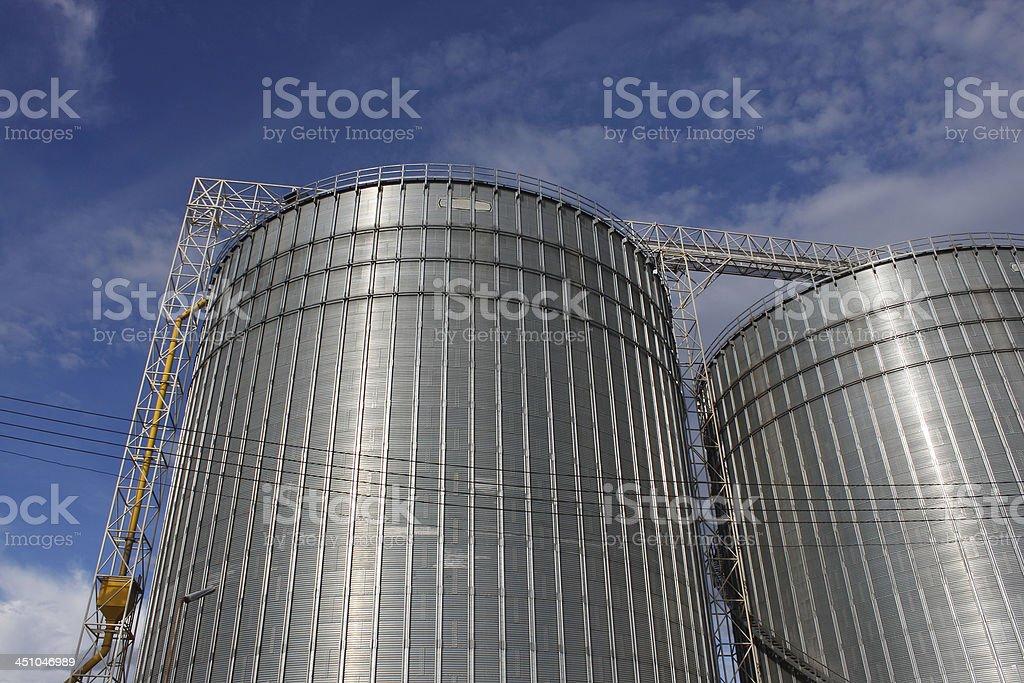 Grain silo in blue sky royalty-free stock photo