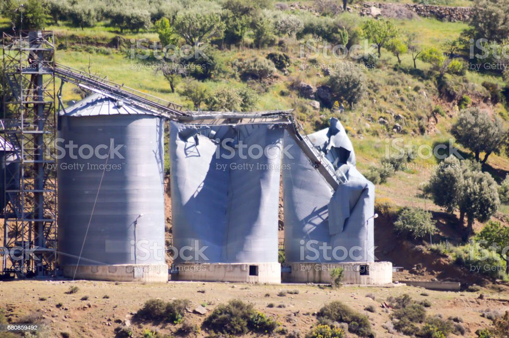 Grain silos blowing royalty-free stock photo