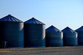 Grain silos on farm for farming and storage of wheat
