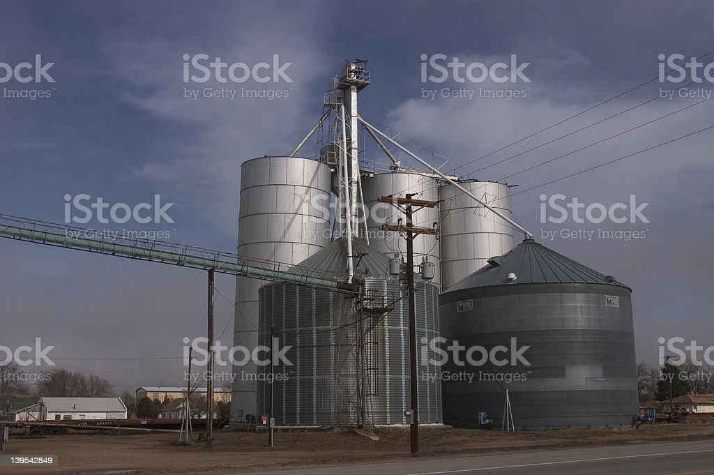 Grain storage bins royalty-free stock photo