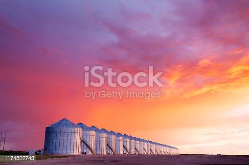 Image of a few Canadian grain silos, Saskatchewan, Canada. Late evening,  Image taken from a tripod.