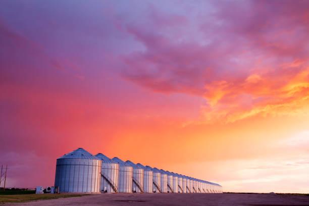 Grain Storage Silos Canadian Prairie Saskatchewan stock photo