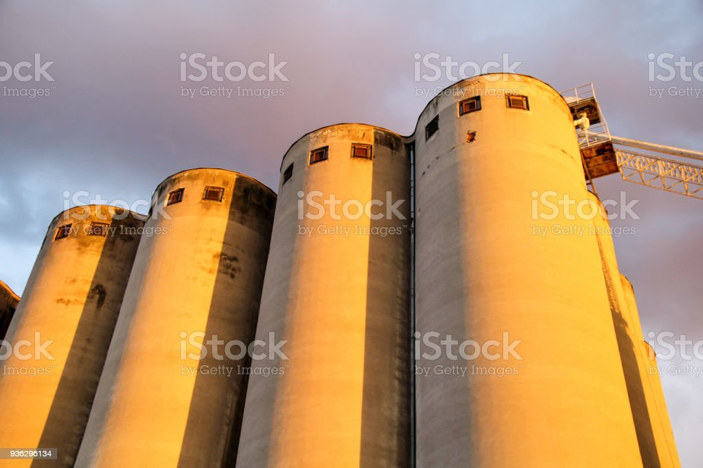Grain terminal storage old silos, very rustic / Agricultural Silos in Belgrade, Serbia. stock photo