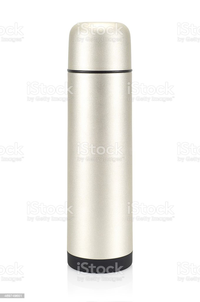 Grained pattern steel thermos. royalty-free stock photo