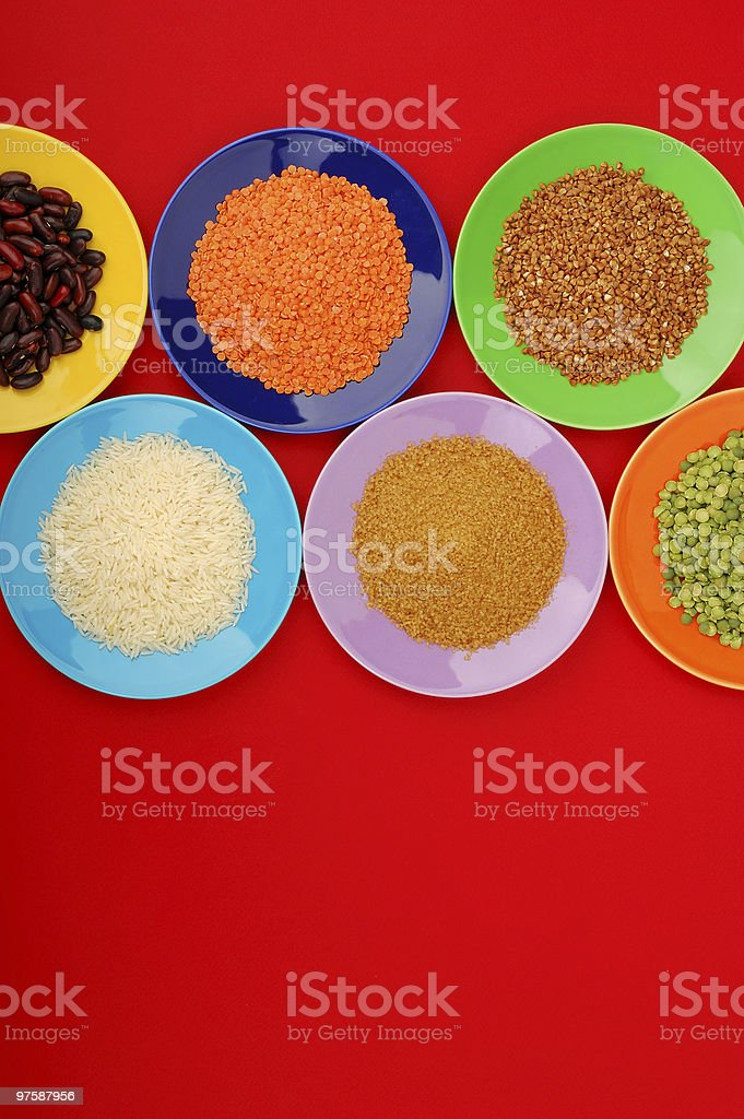 Grains in saucers royalty-free stock photo