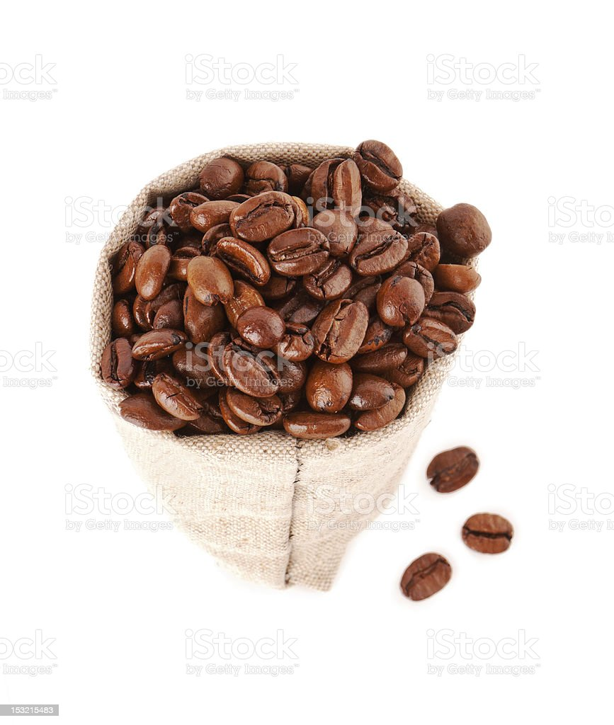 grains of coffee in a sack from sacking royalty-free stock photo